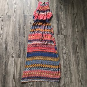 patterned halter top maxi dress
